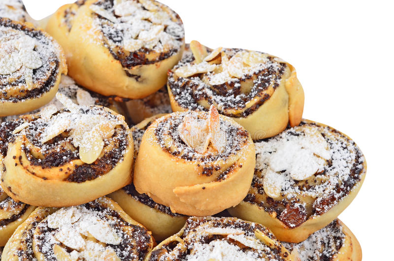 Homemade cookie roll with poppy royalty free stock photo