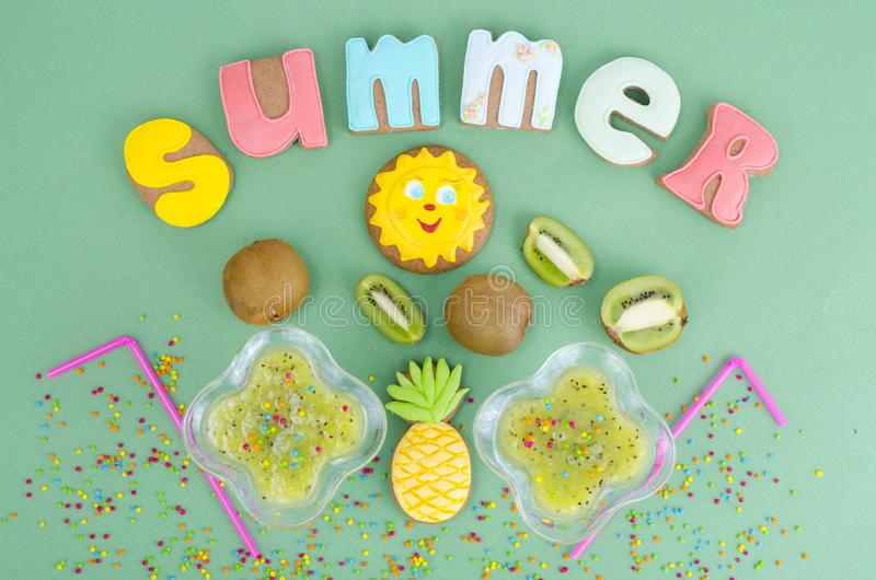 Homemade cookies, gingerbread with summer theme. Studio Photo stock images