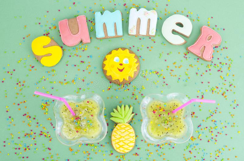 Homemade cookies, gingerbread with summer theme. Studio Photo royalty free stock photos