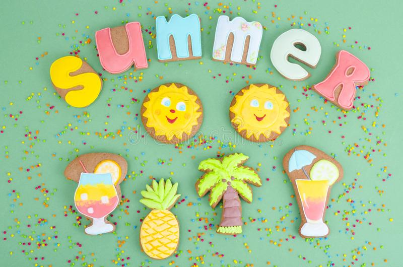 Homemade cookies, gingerbread with summer theme. Studio Photo stock photo