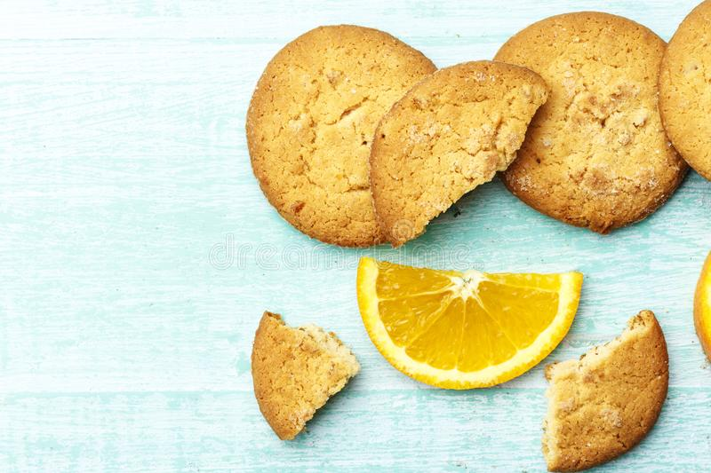 Homemade cookies with orange royalty free stock image
