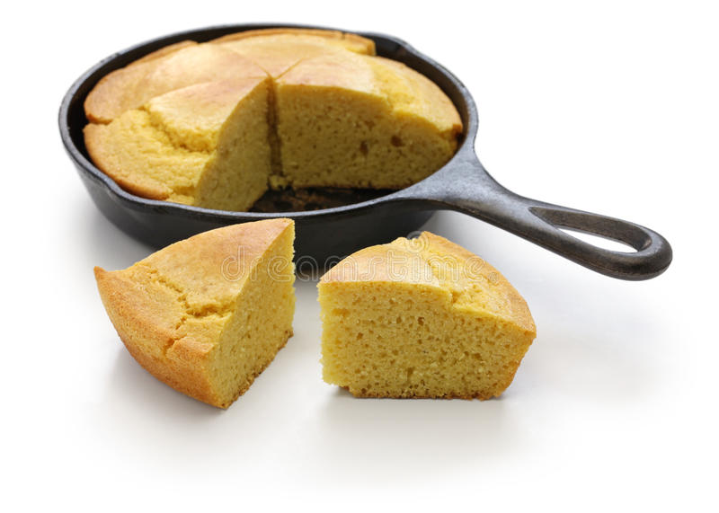 Homemade cornbread in skillet, southern cooking. Homemade cornbread in skillet, cuisine of the Southern United States stock photo