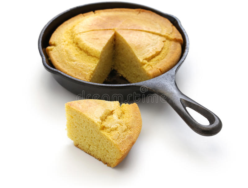 Homemade cornbread in skillet, southern cooking. Homemade cornbread in skillet, cuisine of the Southern United States royalty free stock images