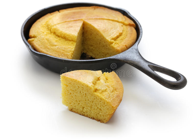 Homemade cornbread in skillet, southern cooking. Homemade cornbread in skillet, cuisine of the Southern United States stock photos