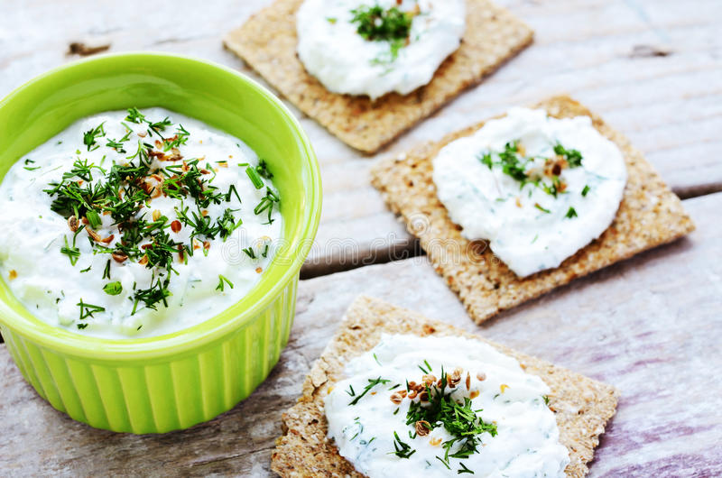 Homemade cottage cheese spread and rye loaves sandwiches stock photos