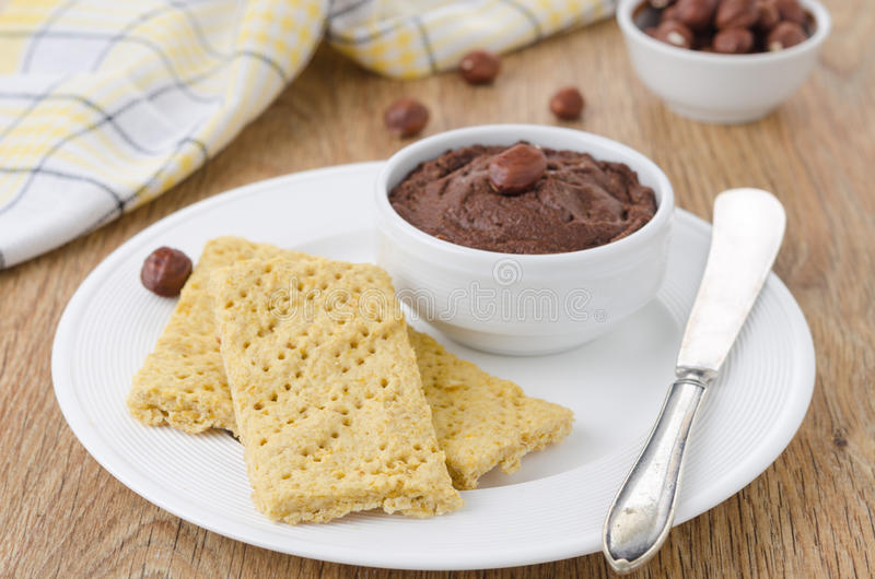Homemade crackers and chocolate paste stock image