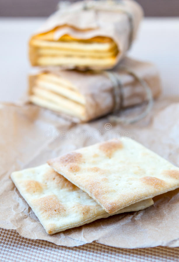 Homemade crackers. Some slices of a crackers royalty free stock images