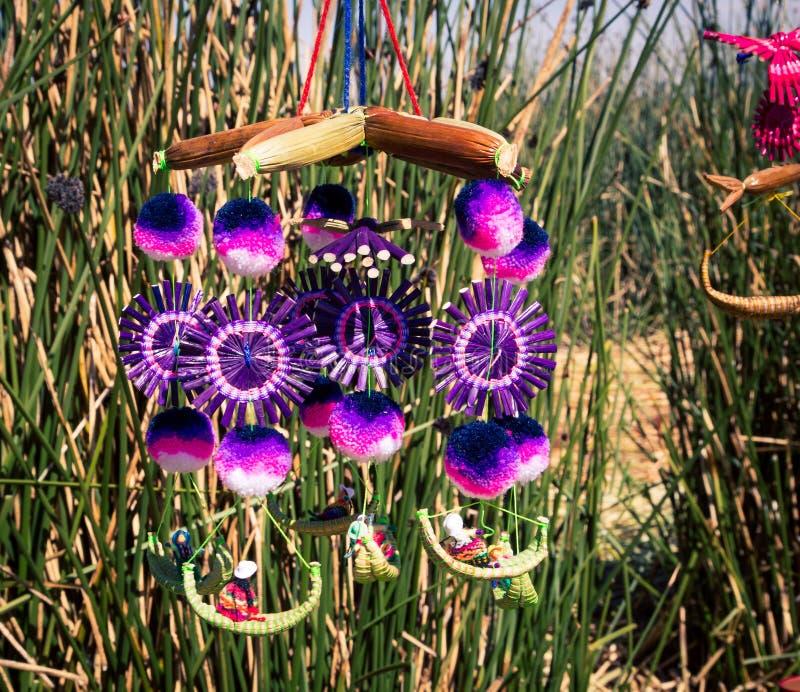 Homemade crafts at lake titicaca. Peru South America royalty free stock image