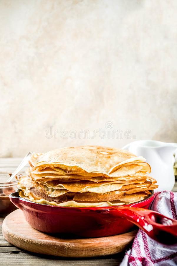 Homemade crepes with chocolate sauce stock images