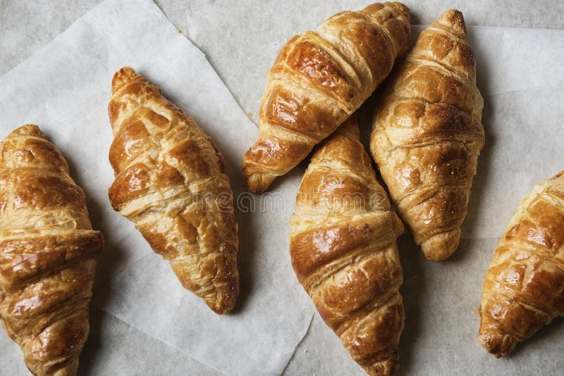 Homemade croissants food photography recipe stock image
