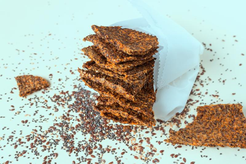 Homemade crunchy bread from flax seeds, Chia, sesame and carrots. royalty free stock photo
