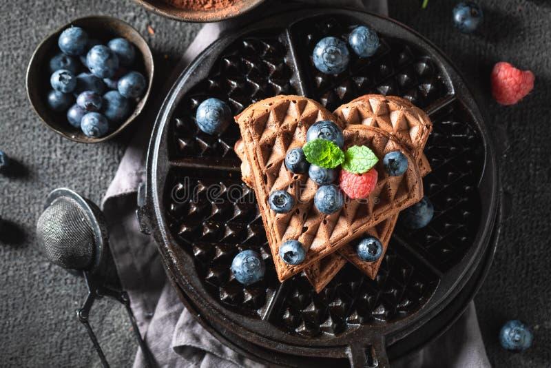 Homemade dark waffles with chocolate and fresh berries stock image