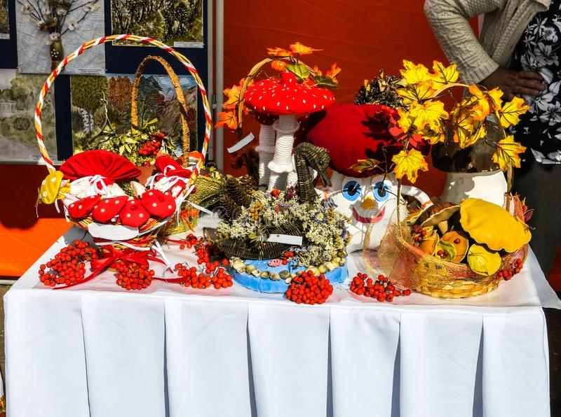 Homemade decorative crafts. On display at the fair stock images