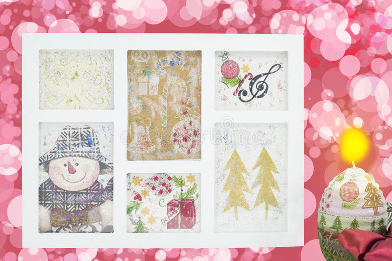 Homemade decoupage Christmas decorations in a photo frame stock photos