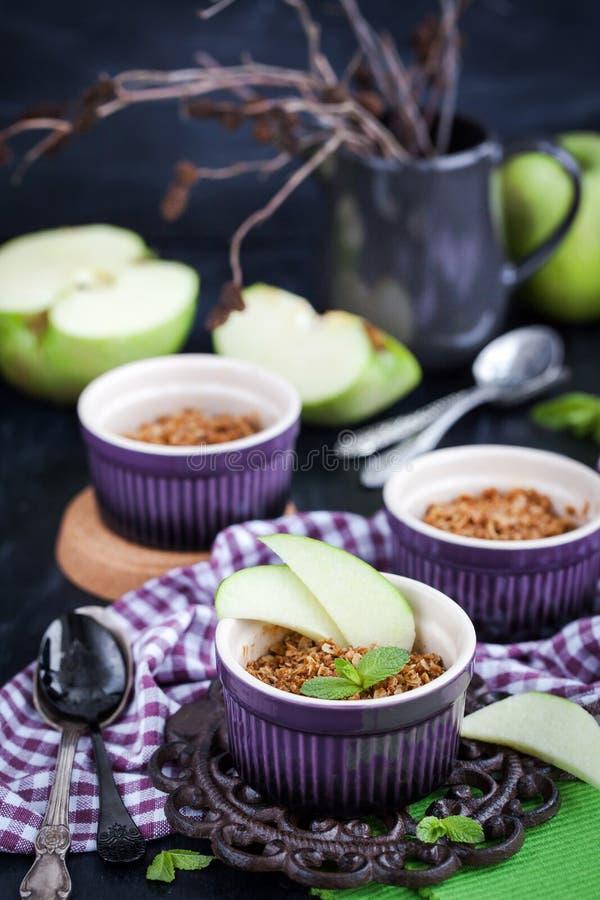 Homemade delicious apple crumble dessert. Homemade delicious apple crumble crisp dessert royalty free stock image