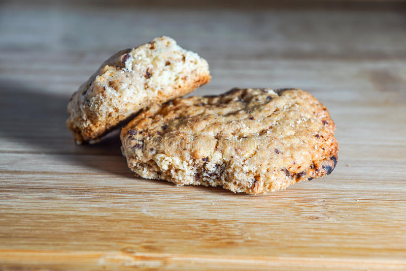 Homemade delicious cookies biscotti with almonds close-up on the table. horizontal view from above . selective focus royalty free stock image