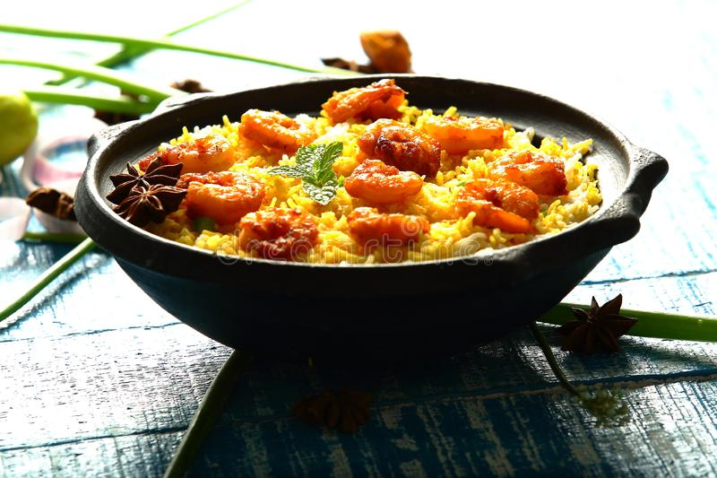 Prawns seafood fish biryani,famous Indian cuisine. Homemade delicious sea food biryani with prawns,shrimps,fish , exotic spices and herbs stock photo