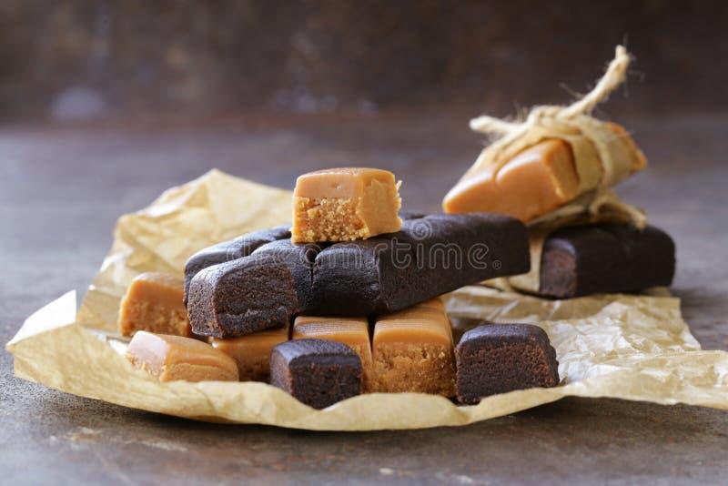 Homemade dessert candy caramel toffee stock photos