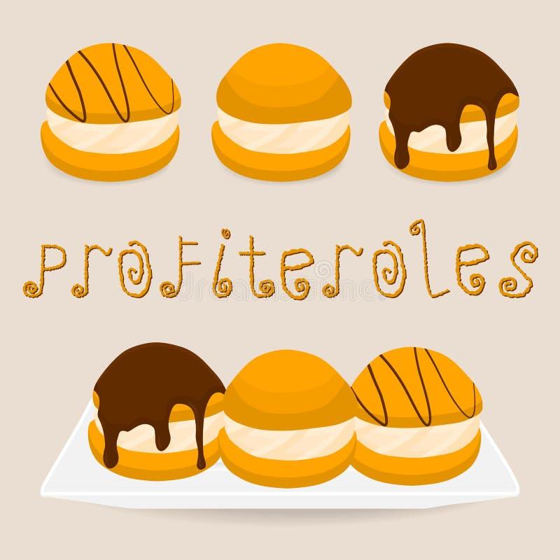 Homemade dessert puff cake profiterole. Vector illustration logo for homemade dessert puff cake profiterole. Profiterole consists of sweet confectionery, choux stock illustration