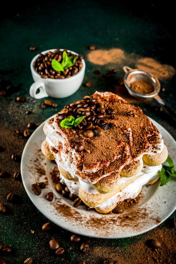 Homemade dessert tiramisu on plate royalty free stock images