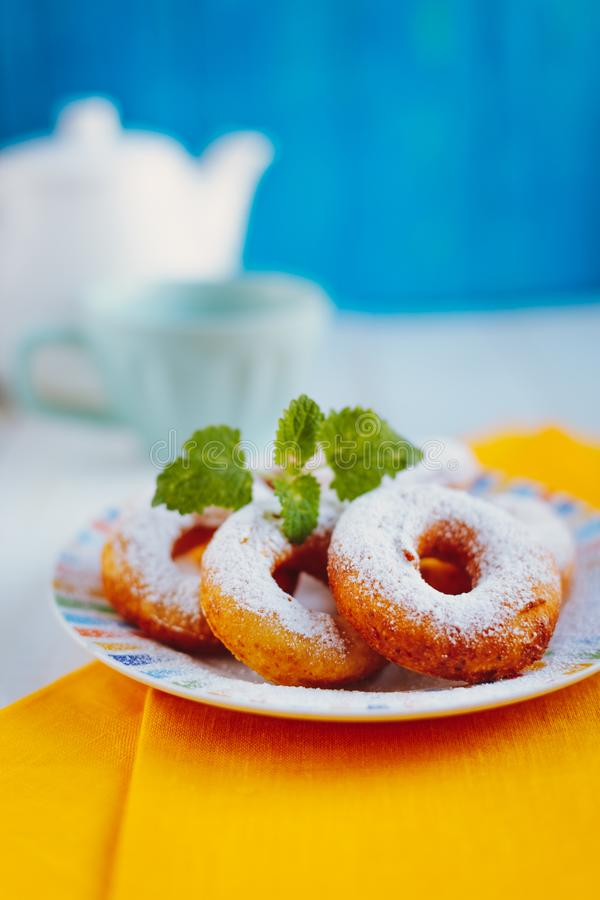 Fresh Homemade Donuts With Icing Sugar Stock Photo - Image ...