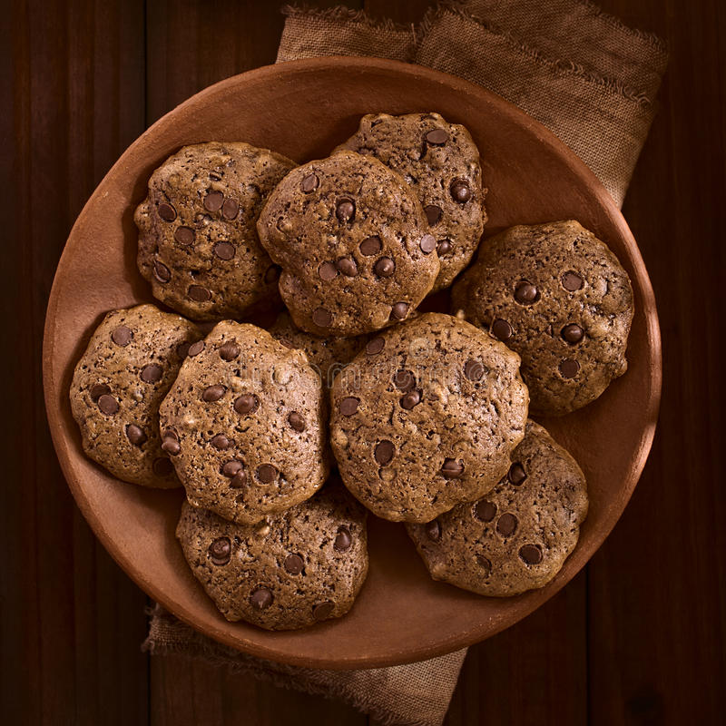Download Homemade Double Chocolate Chip Cookies Stock Photo - Image: 83723257