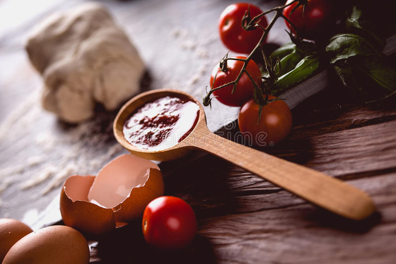 Download Homemade Dough, Preparing Natural Pizza On Wooden Table Stock Photo - Image: 83724607
