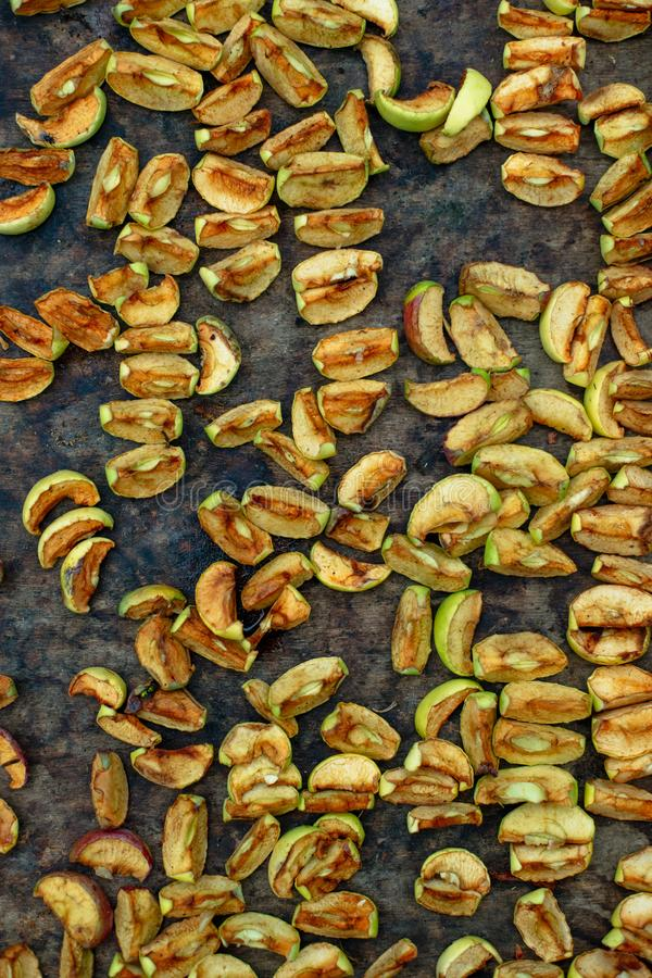 Homemade dried apples background for design stock images