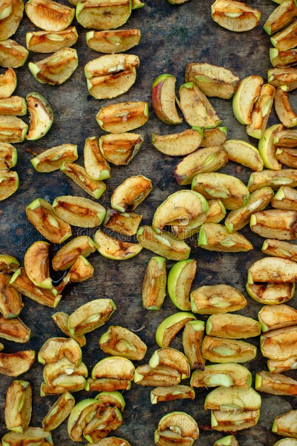 Homemade dried apples background for design royalty free stock photos