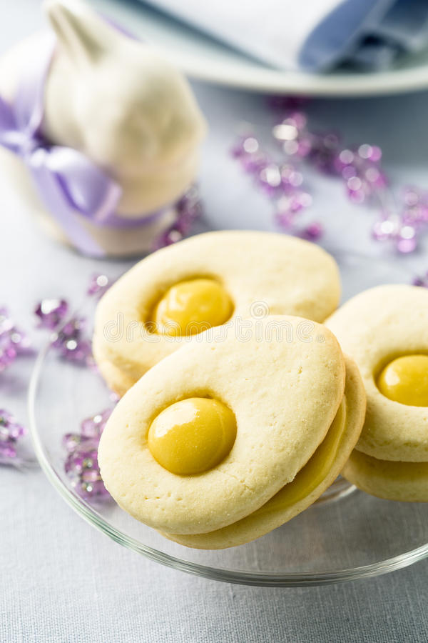 Homemade easter cookies and funny easter bunny royalty free stock image