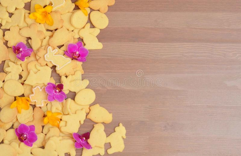 Homemade eastern cookies on wooden table. Space for your text. royalty free stock images