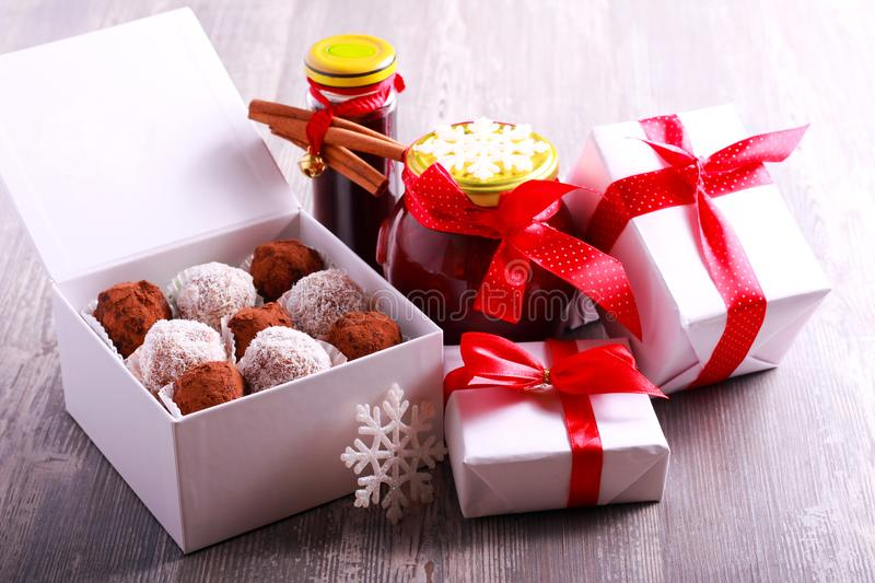 Homemade edible Christmas gifts stock images