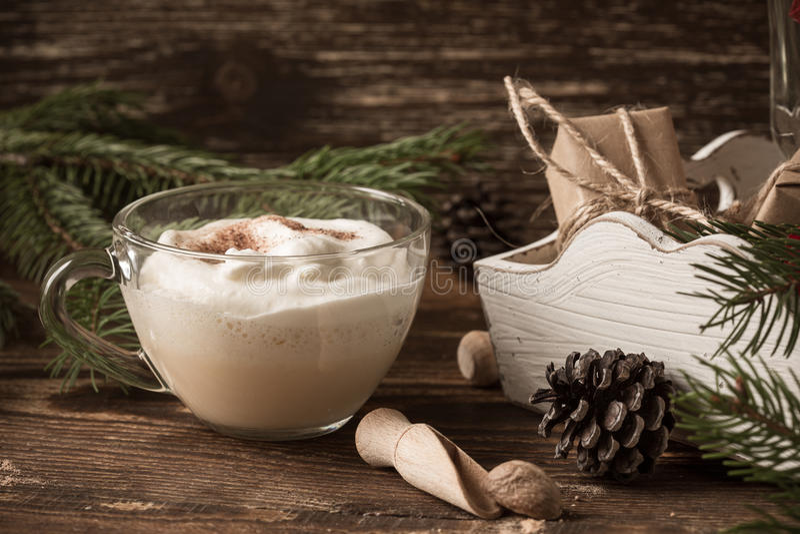 Homemade eggnog, Christmas holiday treat stock photos