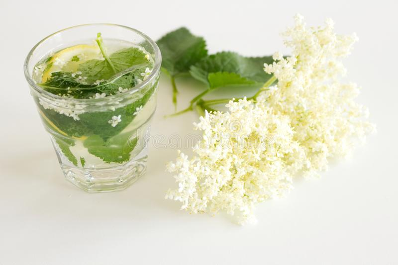 Homemade elderflower lemonade with lemon and elderflower on a wooden table. Summer cold and ,refreshing drink. Homemade elderflower lemonade with lemon and stock image