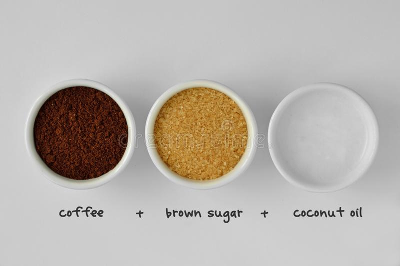 Homemade face scrub made out of coffee powder, brown sugar and c royalty free stock image