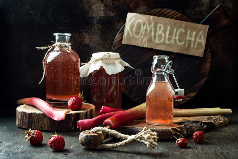 Homemade fermented strawberry and rhubarb kombucha. Healthy natural probiotic flavored drink. Copy space stock photography