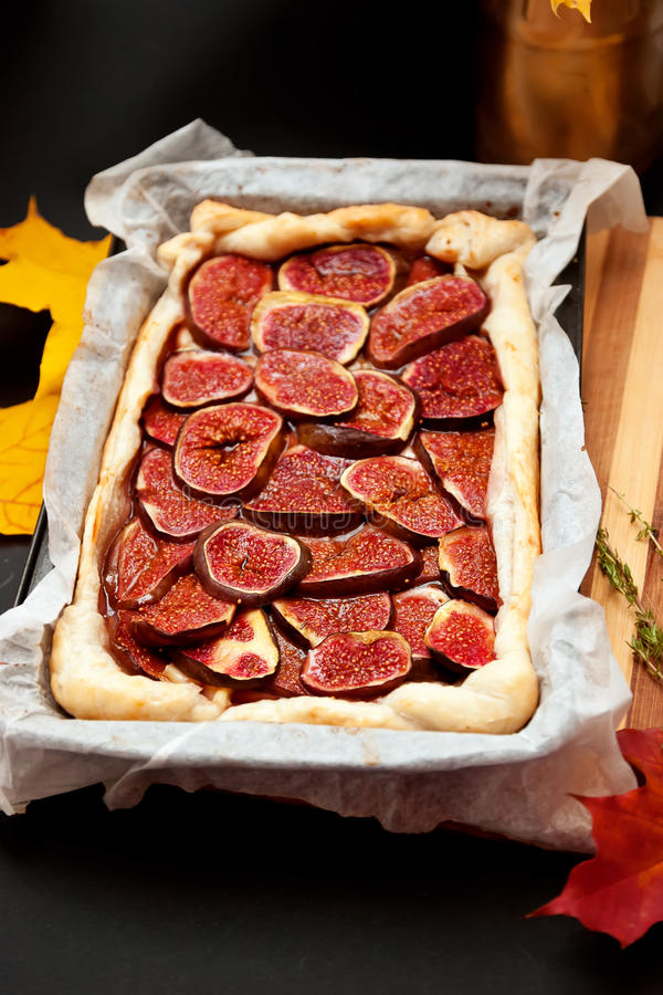 Homemade fig pie stock photos