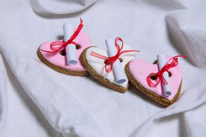 Homemade fortune gingerbread with predictions royalty free stock image