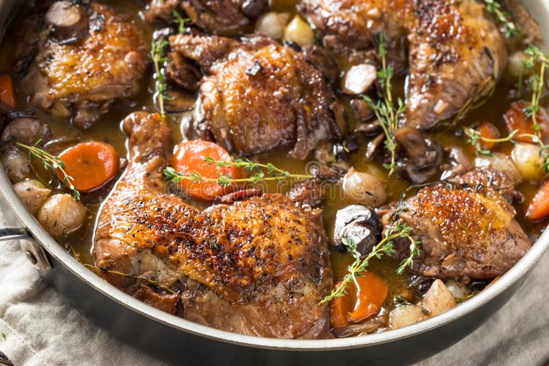Homemade French Coq Au Vin Chicken royalty free stock photography