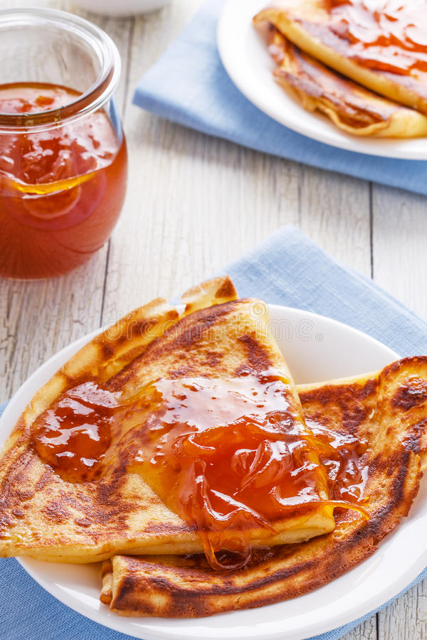 Homemade french crepes with orange syrup. royalty free stock images
