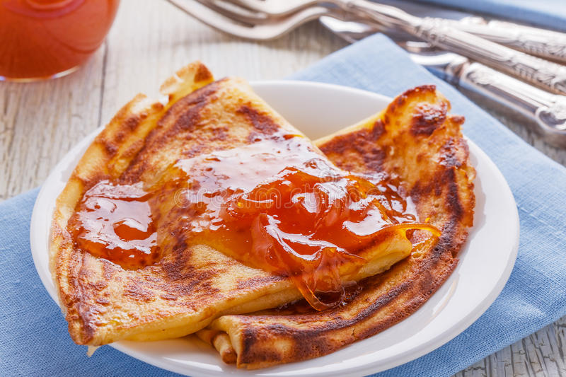 Homemade french crepes with orange syrup. stock images
