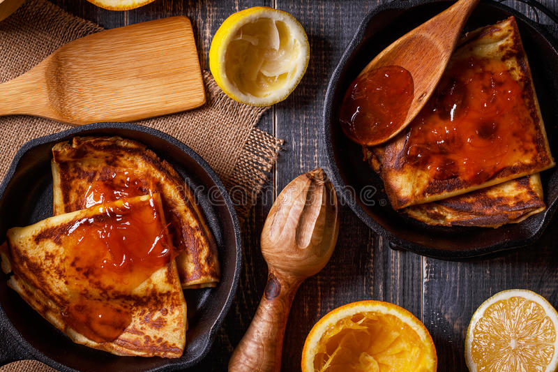 Homemade french crepes with orange syrup. stock photography