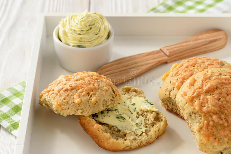 Download Homemade Fresh Bread Buns With Cheese And Garlic Butter. Stock Photo - Image: 83709227
