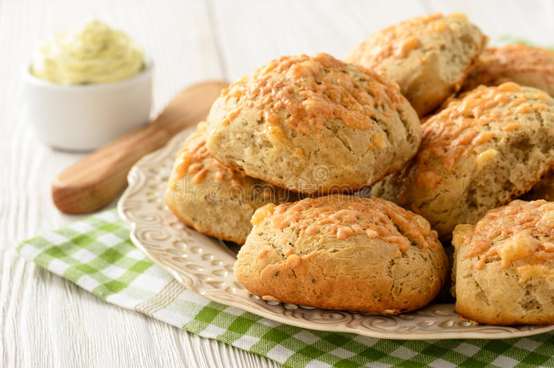 Download Homemade Fresh Bread Buns With Cheese And Garlic Butter. Stock Photo - Image: 83710811