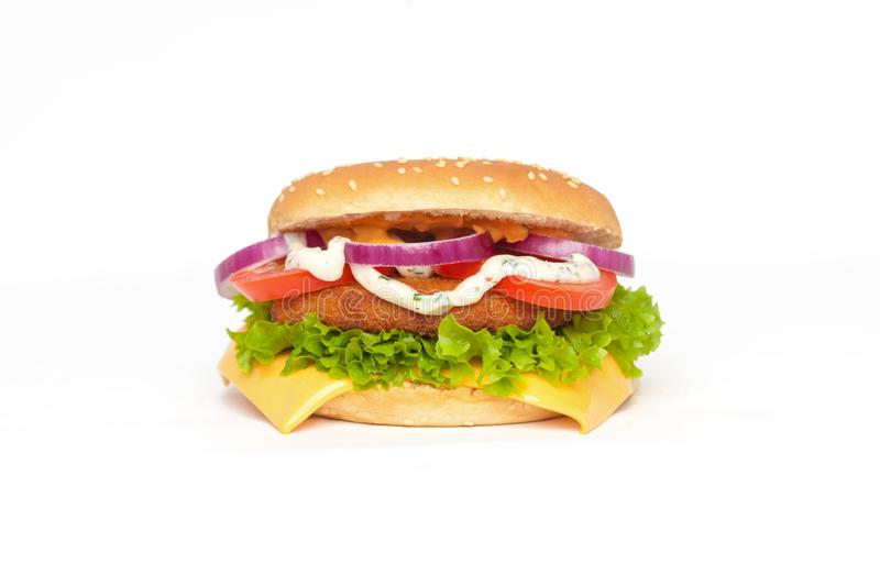 Chicken cheese burger isolated on white royalty free stock photo
