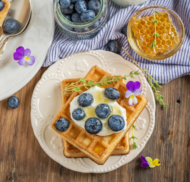Homemade fresh crispy waffles for breakfast with. Fresh blueberries and honey on a ceramic bowl and a wooden background. selective Focus royalty free stock photo