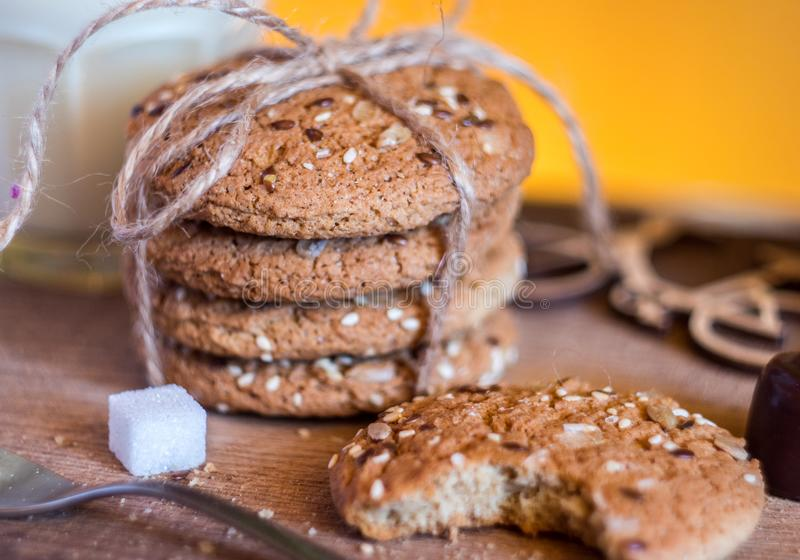 Homemade fresh oats cookies with sesame royalty free stock photos
