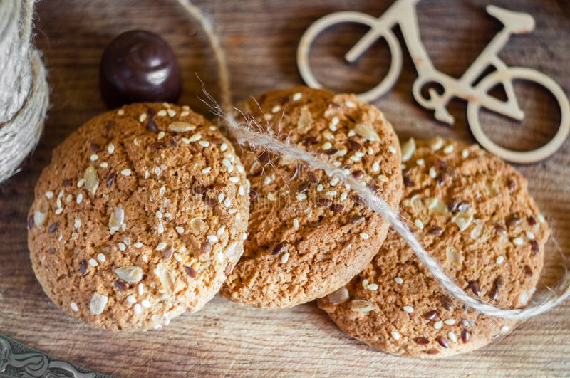 Homemade fresh oats cookies with sesame stock image