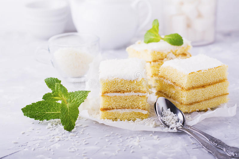 Homemade fresh sponge cake in the coconut cream and flakes on the feast served in portions a gray background stock image
