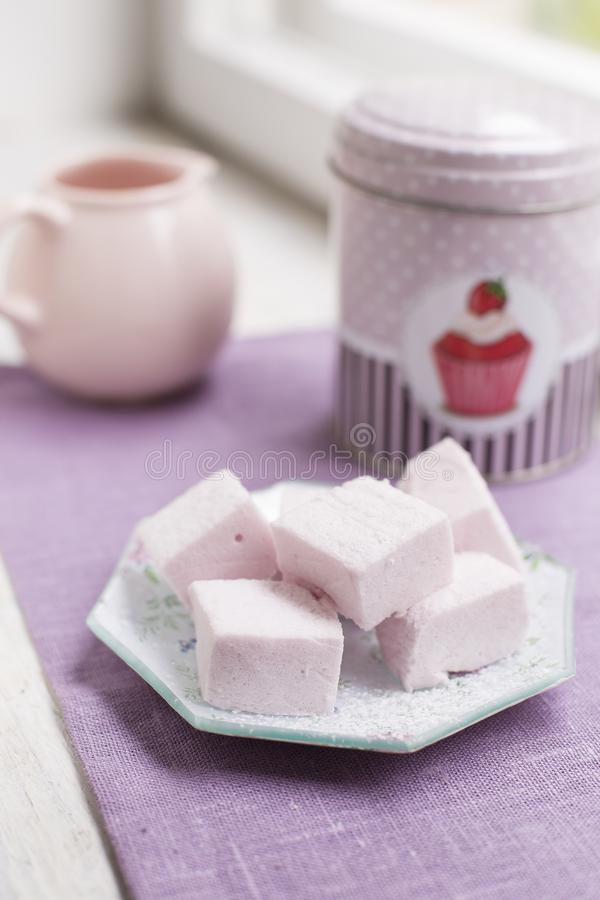 Homemade fresh and sweet pink marshmallows stock image